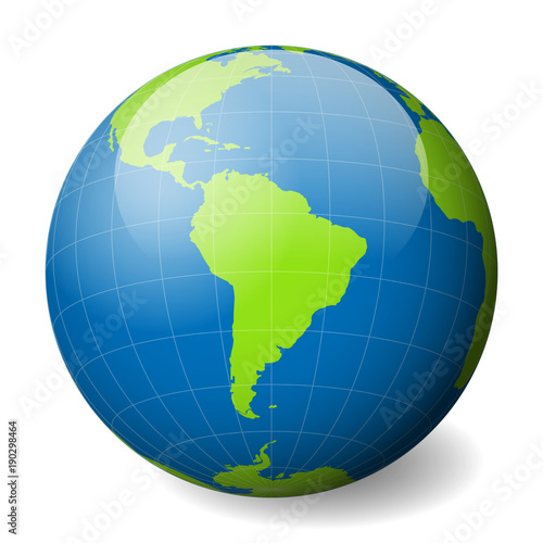 Earth globe with green world map and blue seas and oceans focused on earth globe with green world map and blue seas and oceans focused on south america gumiabroncs Images