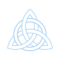 Triquetra, Trinity or Celtic knot isolated vector symbol. Trinity cross.