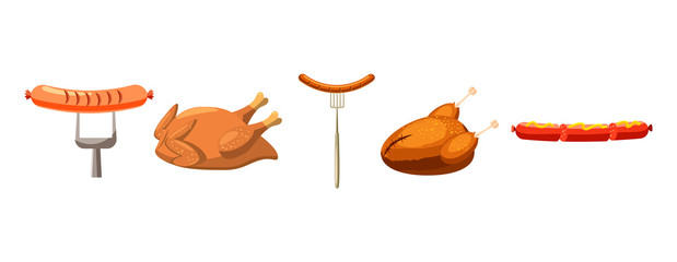 Meat food icon set, cartoon style