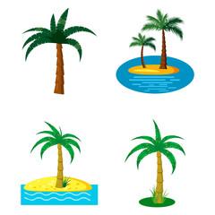 Palm tree icon set, cartoon style