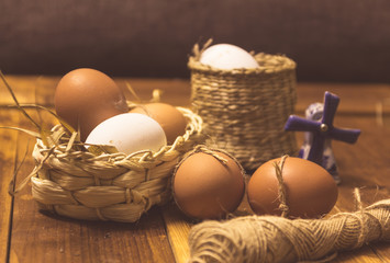 still life with chicken eggs