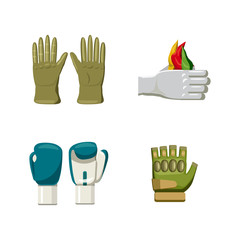 Gloves icon set, cartoon style