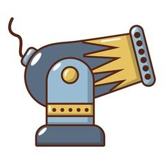 Battle cannon icon, cartoon style.