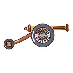 Artillery cannon icon, cartoon style.