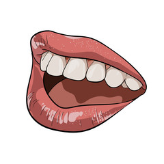 A woman's mouth. Ajar. Calling.