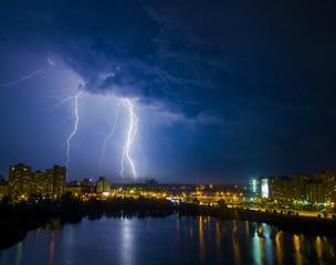 lightning above the city