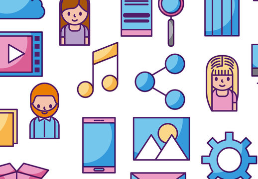 Social Media Illustrated Background Pattern