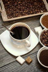 Wall Murals Cafe Drinks, drinking, energy and caffeine concept-coffee cups, coffee beans, ground coffee and instant on a wooden background.