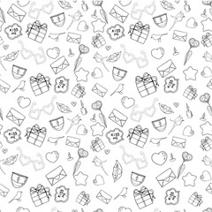 Vector seamless doodles Valentine's pattern. Cartoon romantic objects on white background. Love signs, design elements and symbols. Black and white illustration.