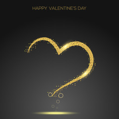 Valentine's day greeting card confetti gold heart. Vector