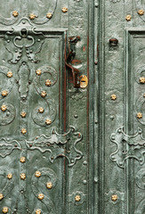 Baroque style, impressive green doors.  Dominican cathedral.