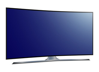 Curved tv. 4k Ultra HD screen - stock vector