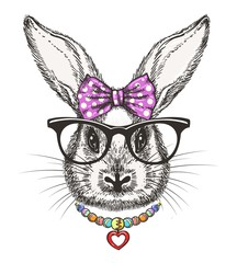 Fashion bunny girl. Cute doodle little rabbit girl portrait with polka dots bow and beads vector illustration