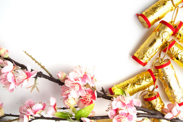 chinese new year festival decorations plum flowers on white with copy space