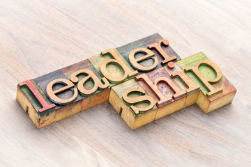 leadership word abstract in wood type