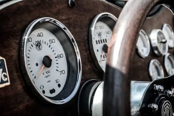Classic dashboard of an old car