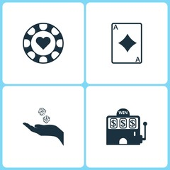 Vector Illustration Set Casino Icons. Elements of Gambling chips, Ace card, Dice game and Casino icon