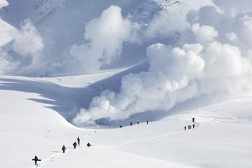 Snowboarders hiking in Asahidake Japan