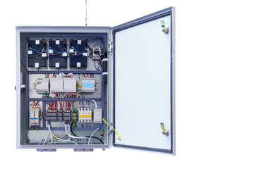 electrical control Cabinet with an open door isolated on a white background.