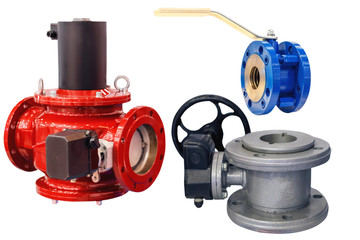 several modern shut-off valves of various designs isolated on white background