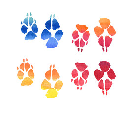 Multicolored animal paw prints, Watercolor collection of footprint