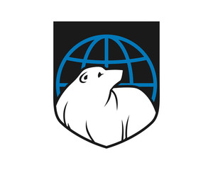 globe bear shield grizzly polar beast animal fauna image vector icon logo silhouette
