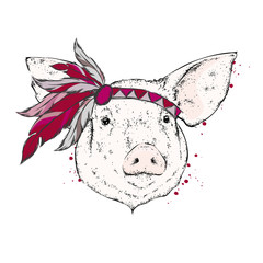 Pig in an Indian feather armband. Indian. Vector illustration.