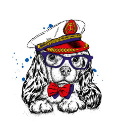 A handsome puppy in a cap, glasses and a tie. A pedigree dog in the captain's costume of a ship. Vector illustration for a postcard or a poster, print for clothes.
