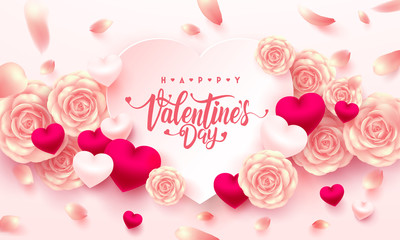 Valentine Hearts with Typography font,Sweet heart and Pink rose for Valentine's Day Brochures,Poster or Banner.Vector illustration EPS10.
