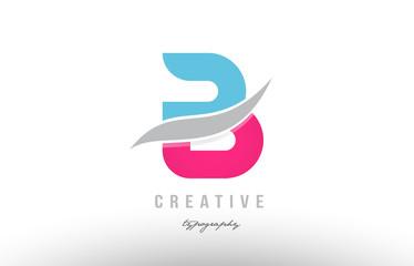 b blue pink modern alphabet letter logo icon design