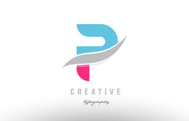 p blue pink modern alphabet letter logo icon design