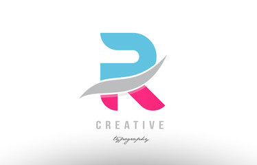 r blue pink modern alphabet letter logo icon design