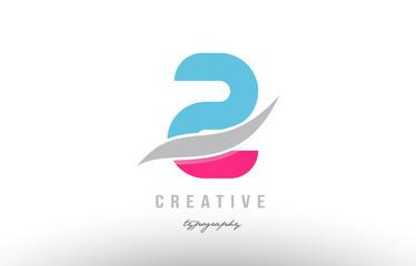 2 two blue pink modern number logo icon design