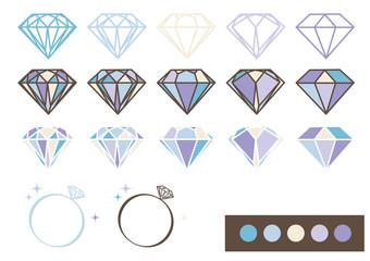 宝石 デザインパーツ素材(ブルー)