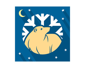 winter bear night fauna animal wildlife image vector icon silhouette