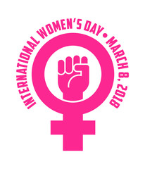 International Women's Day design with female symbol and raised fist. For posters, banners, stickers. Vector Illustration.