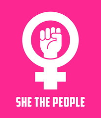 Symbol for female with raised fist. Vector icon design for posters, banners, signs about women's rights. She the people.