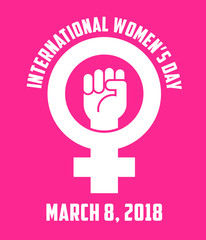 International Women's Day design with female symbol and raised fist. For posters, banners, stickers.