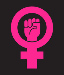 Symbol for female with raised fist. Vector icon design for posters, banners, signs about women's rights.
