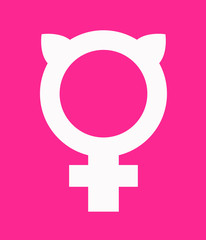 Symbol for female combined with pussy ears. Vector icon design for posters, banners, signs, t-shirts about women's rights.