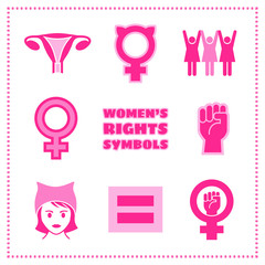 Set of vector feminist symbols including female symbols, equality sign, pussy hat and raised fist.