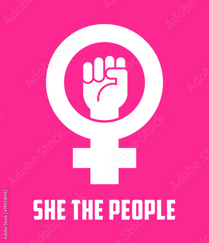 70fcec5e4a7f Symbol for female with raised fist. Vector icon design for posters ...