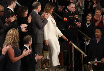 First lady Melania Trump is applauded during U.S. President Trump's State of the Union address in Washington
