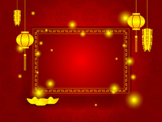 happy chinese new year with copy space on red background