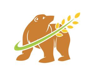 bear wheat beast animal fauna image vector icon logo silhouette