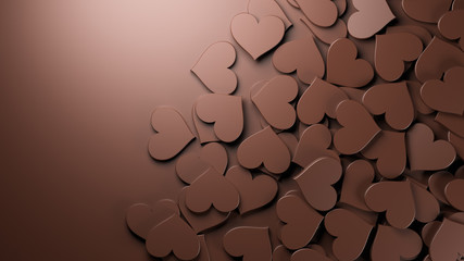 Milk chocolate hearts background. Concept for Valentine's Day, Women's Day, and others. 3D Rendering.
