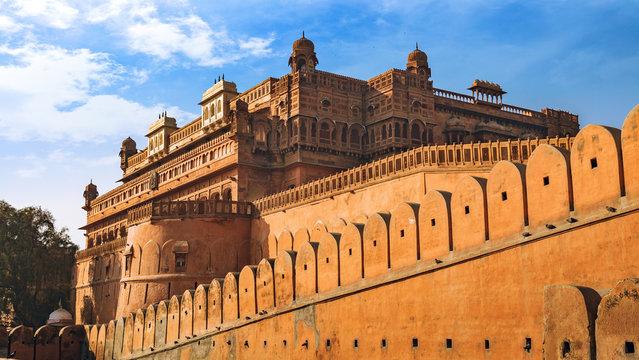 Junagarh Fort exterior structure made of yellow sandstone at Bikaner, Rajasthan India.