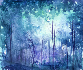 Watercolor illustration, dark, dense forest.  Seasons. Summer, spring, winter, autumn landscape. Abstract spots of blue. Park, forest, grove, trees.  Watercolor postcard, invitation.