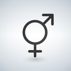 Male and female sex symbol, black vector illustration.