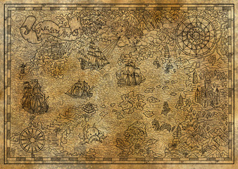 Pirate treasure map with fantasy elements on texture. Pirate adventures, treasure hunt and old transportation concept. Hand drawn engraved illustration, vintage background